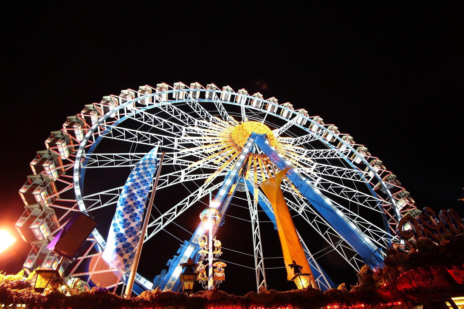 Oktoberfest bei Nacht Riesenrad Nachhaltigkeit Umweltschutz